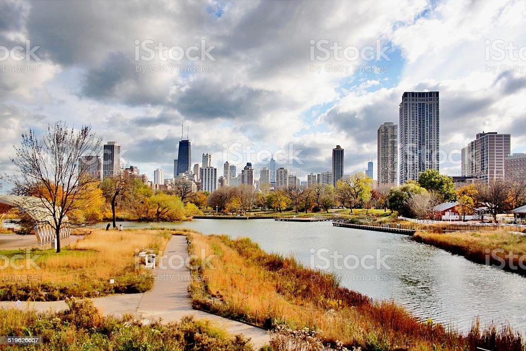 Chicago autumn view stock photo