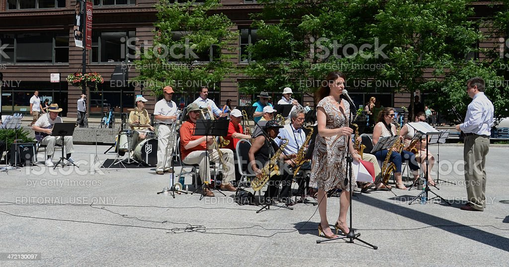 Chicago Barrister's Band performs in Federal Plaza stock photo