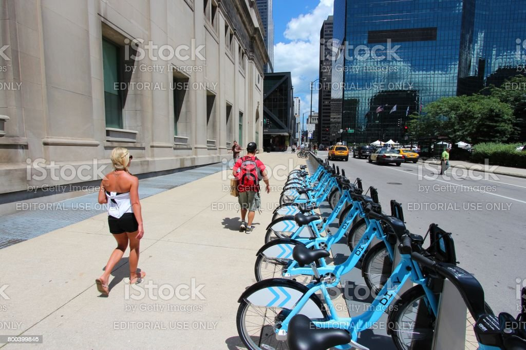 Chicago bicycle sharing stock photo