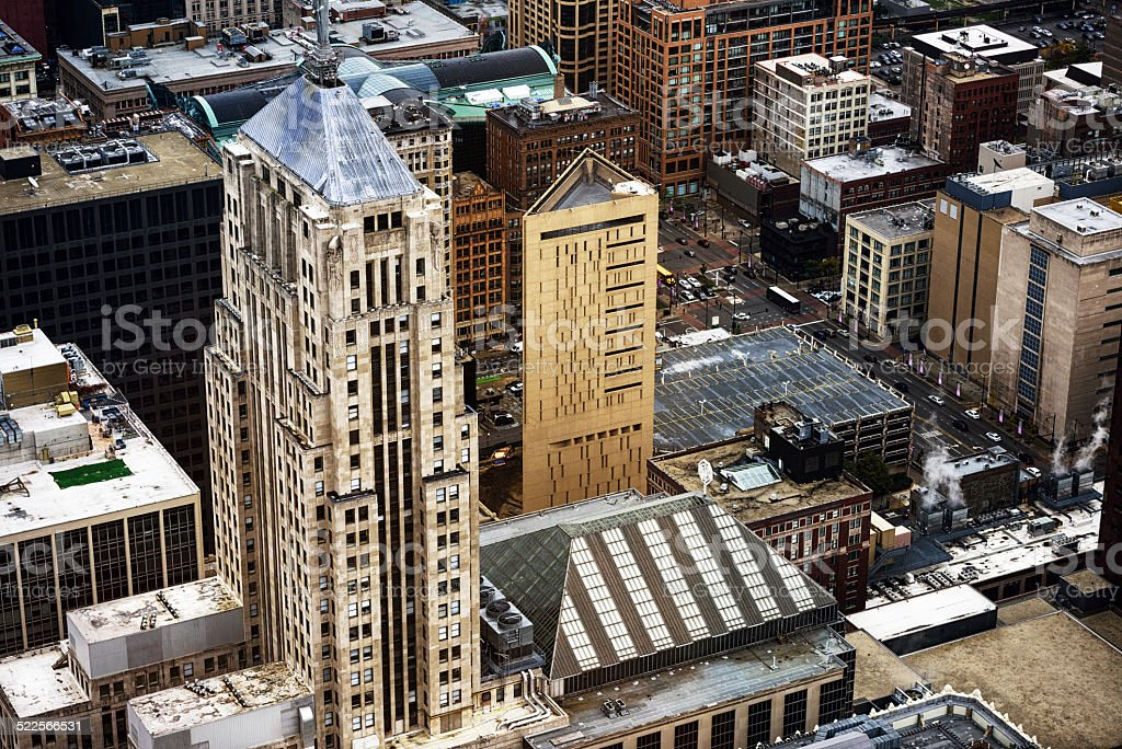 Chicago Board of Trade and Correction Center, from above stock photo