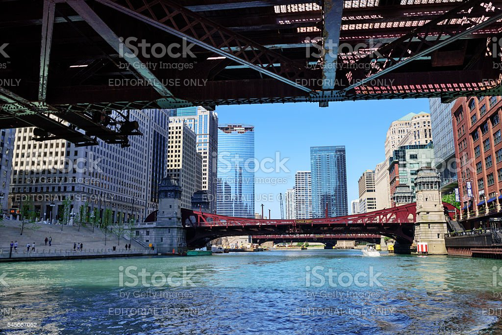 Chicago bridges viewed from River stock photo