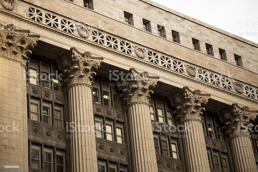 Chicago Building Columns Architecture on City Hall stock photo