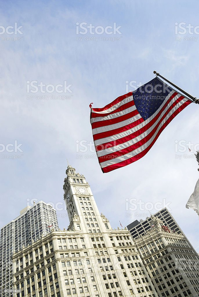 Chicago buildings with american flag. stock photo