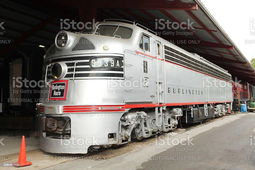 Chicago, Burlington & Quincy EMD E8(A) CBQ 9939A Diesel Locomotive stock photo