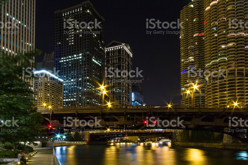 Chicago by night stock photo