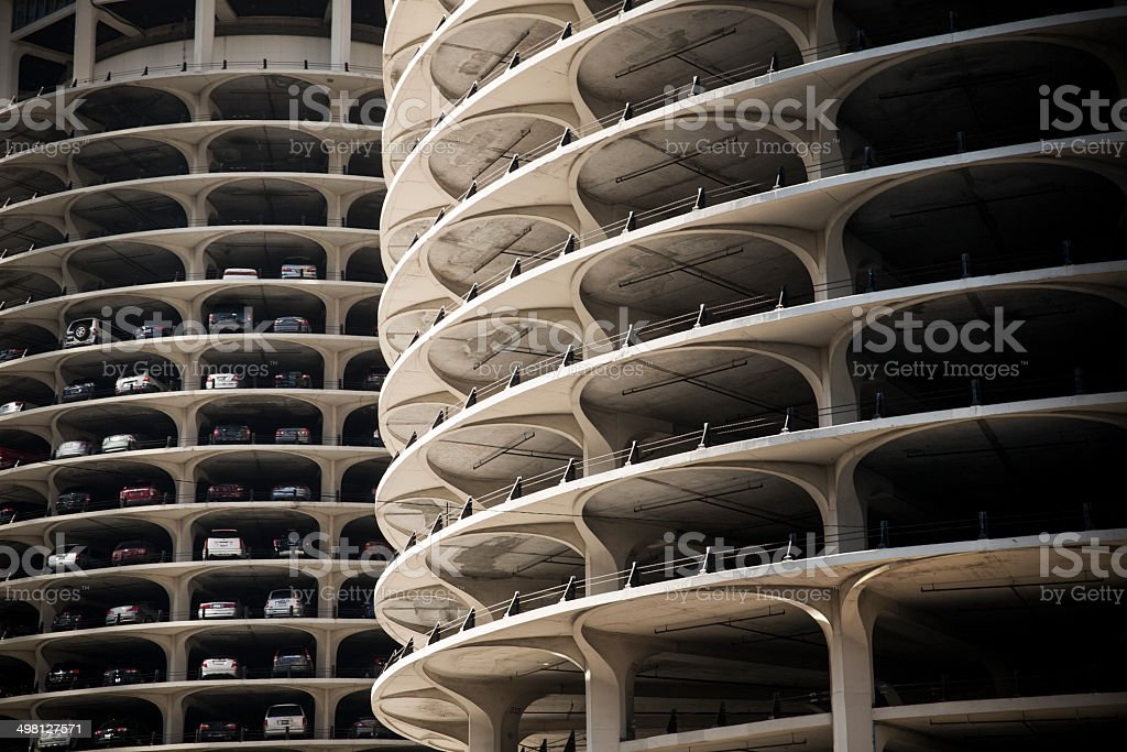 Chicago car park building stock photo