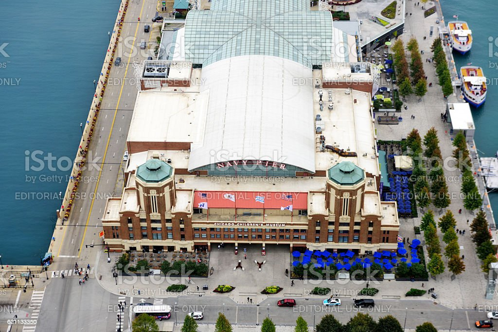Chicago Childrens Museum, Navy Pier, Chicago, from above stock photo