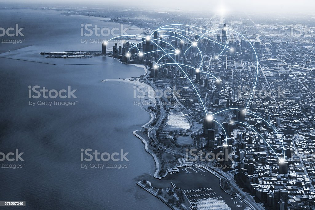 chicago city and connection concept stock photo
