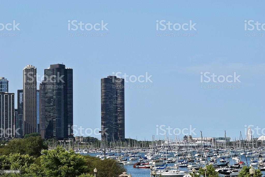 Chicago city and lake Michigan with sailboats royalty-free stock photo