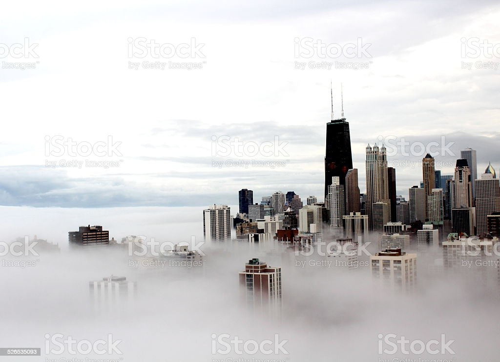 Chicago city buildings in the clouds stock photo