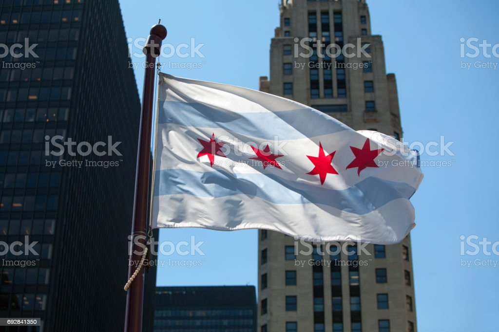 Chicago City Flag stock photo