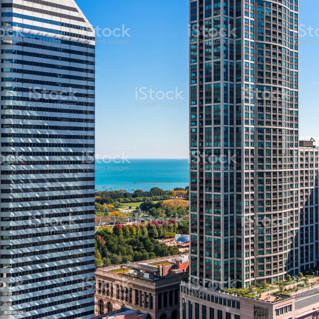 Chicago city scape looking across Millennium Park stock photo