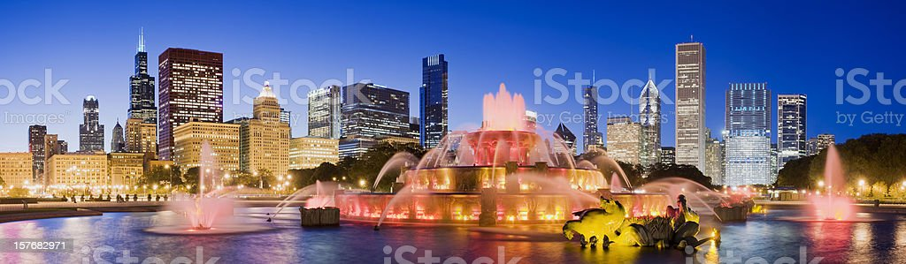 Chicago City Skyline and Buckingham Fountain in the USA stock photo
