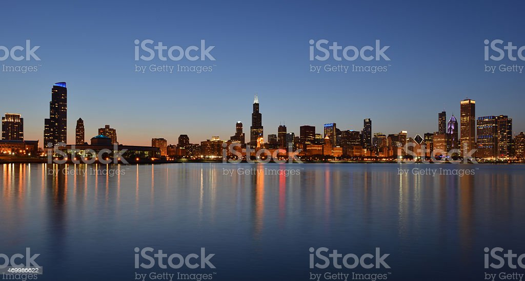 Chicago city skyline stock photo