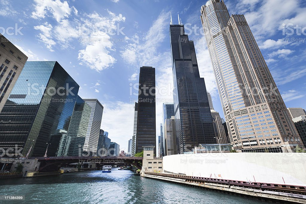 Chicago City Skyline with Willis Tower Along the River Hz stock photo
