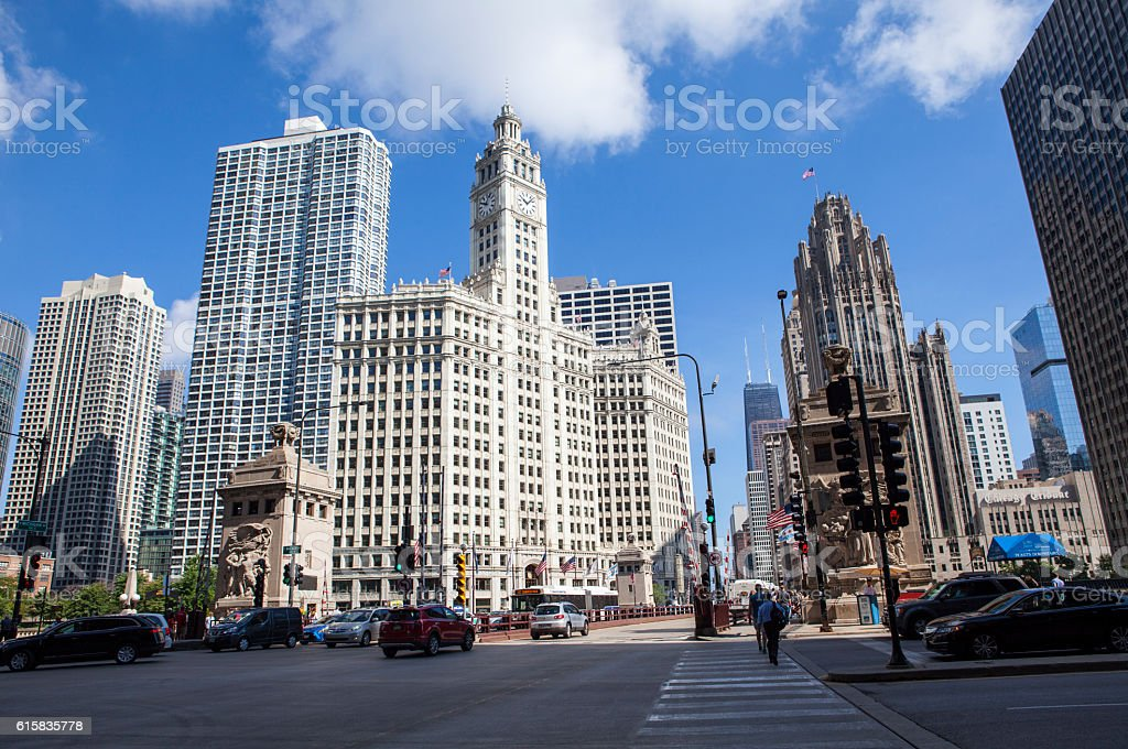 Chicago city streets Michigan avenue stock photo