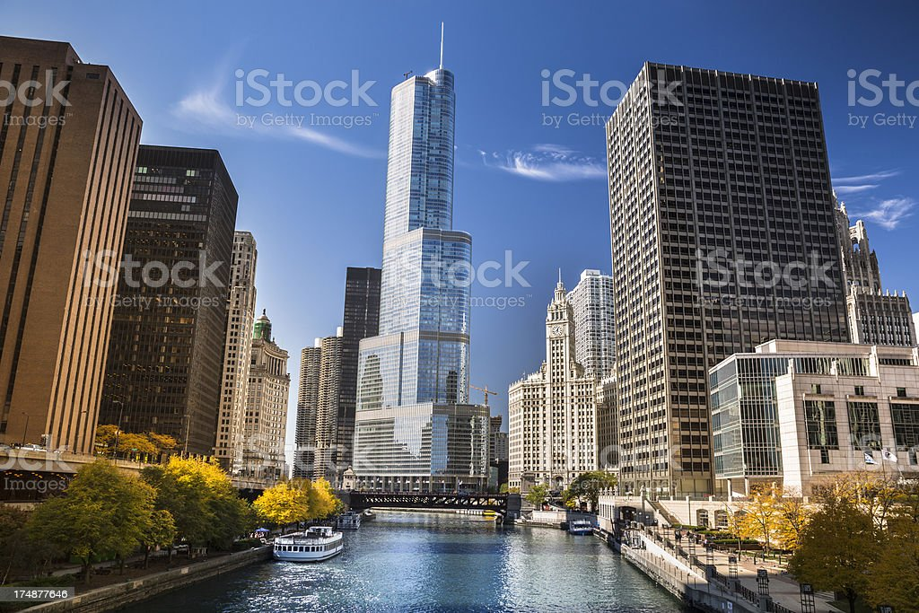 Chicago cityscape and river royalty-free stock photo