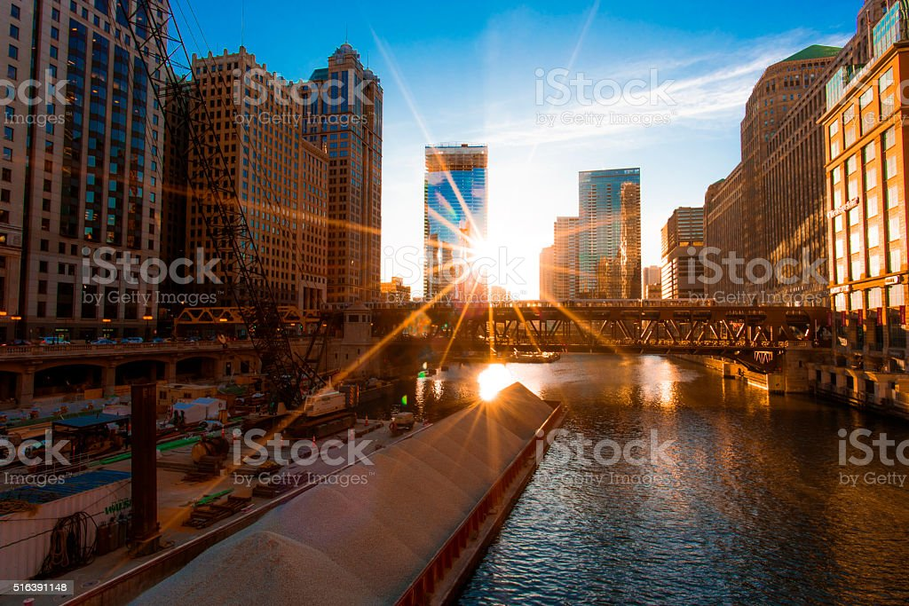 Chicago Cityscape with the Sun stock photo