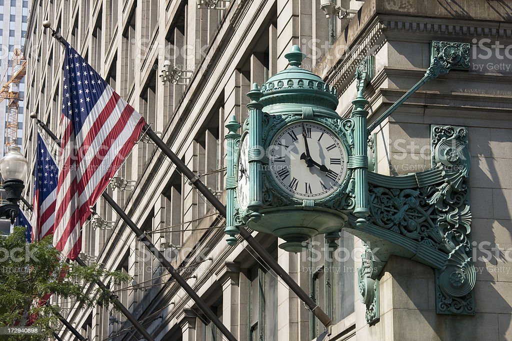 Chicago Clock and Flags royalty-free stock photo