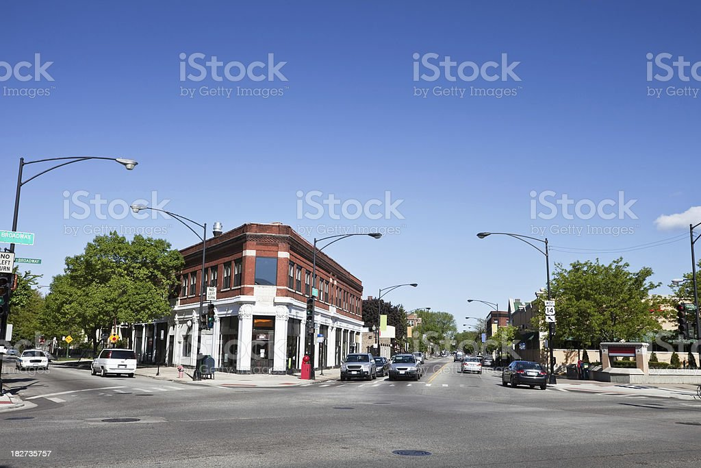 Chicago Corner Shop and Intersection stock photo
