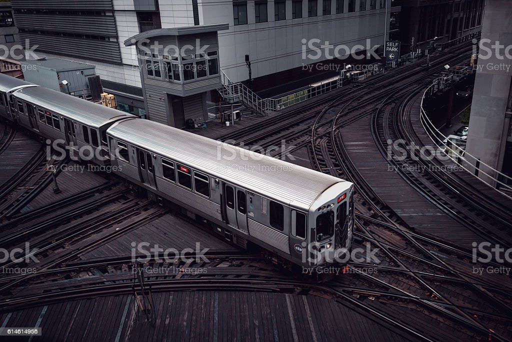 Chicago CTA Train Crossing Tracks stock photo