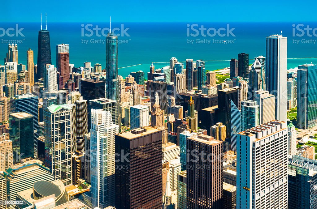 Chicago Downtown Aerial with Blue/Bluegreen Lake Michigan stock photo