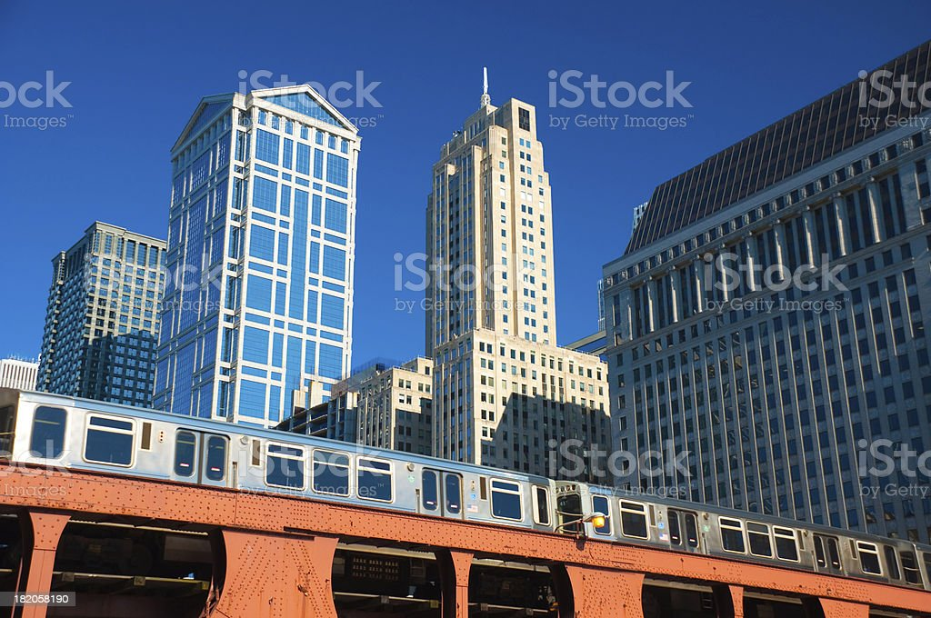 Chicago Downtown and L Train royalty-free stock photo