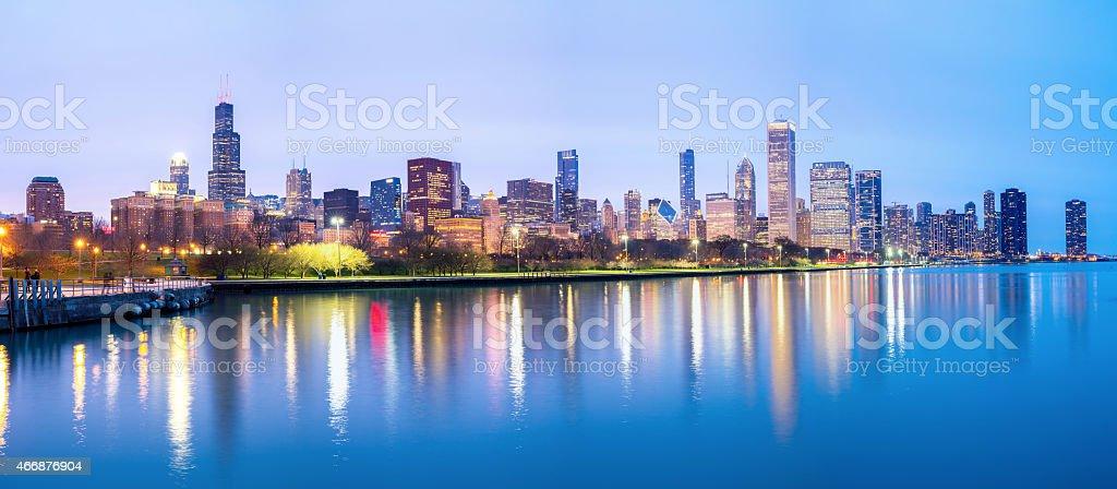 Chicago downtown and Lake Michigan Panorama stock photo
