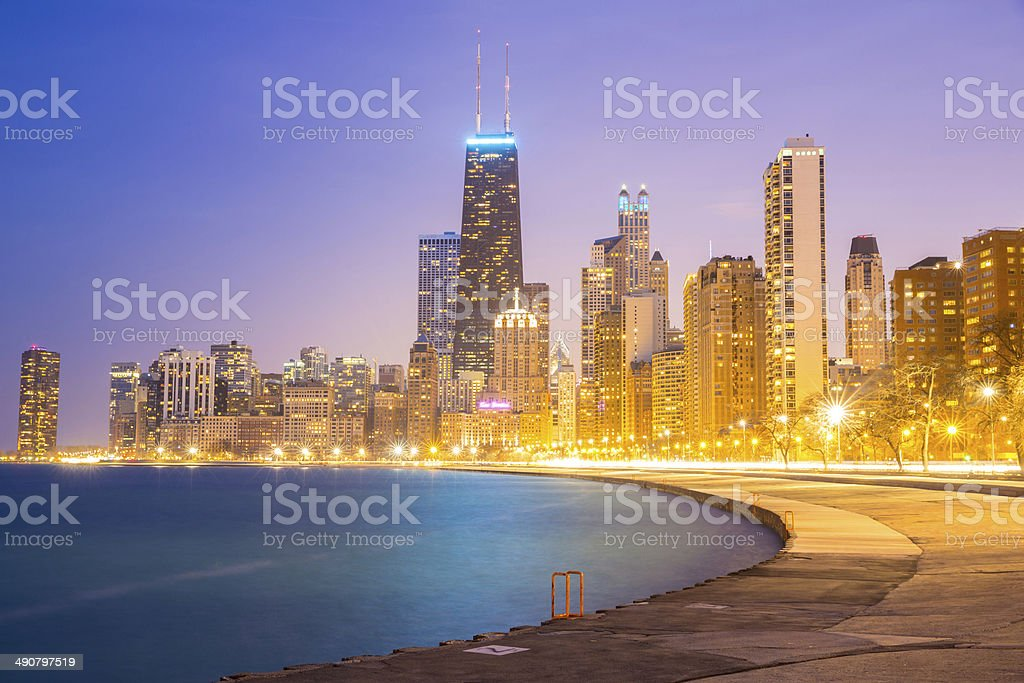 Chicago downtown and Lake Michigan stock photo