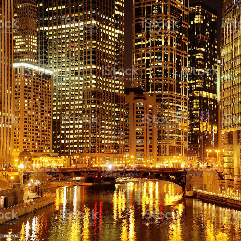 Chicago downtown and River at night stock photo