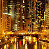 Chicago downtown and River at night
