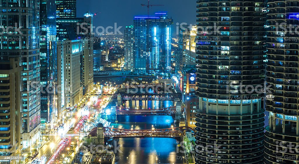 Chicago downtown at night in Illinois, USA stock photo