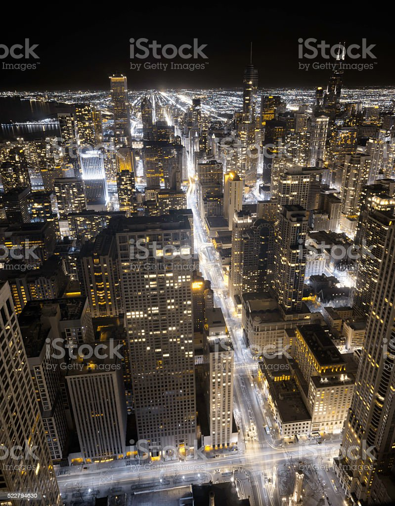 Chicago Downtown at Night in Infrared stock photo