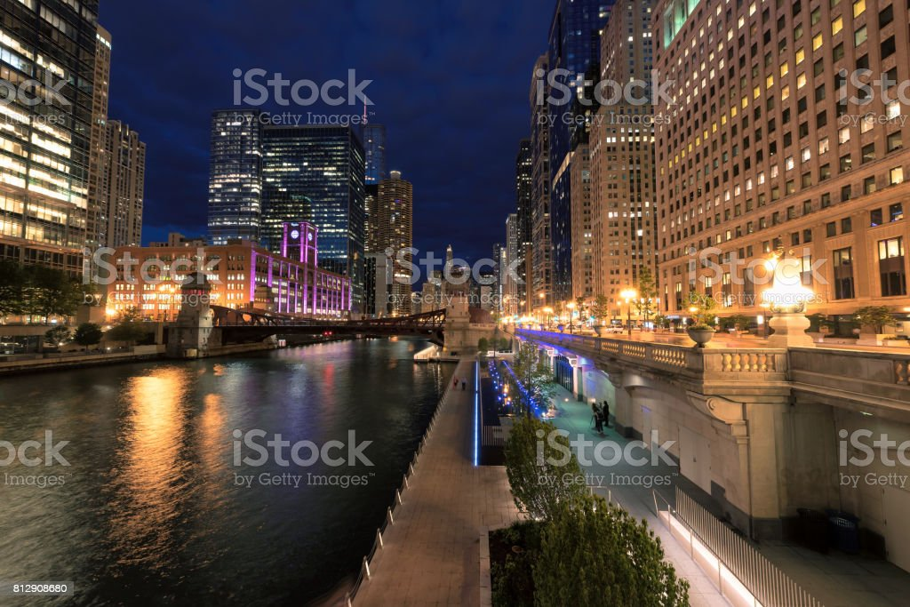 Chicago downtown at night. stock photo