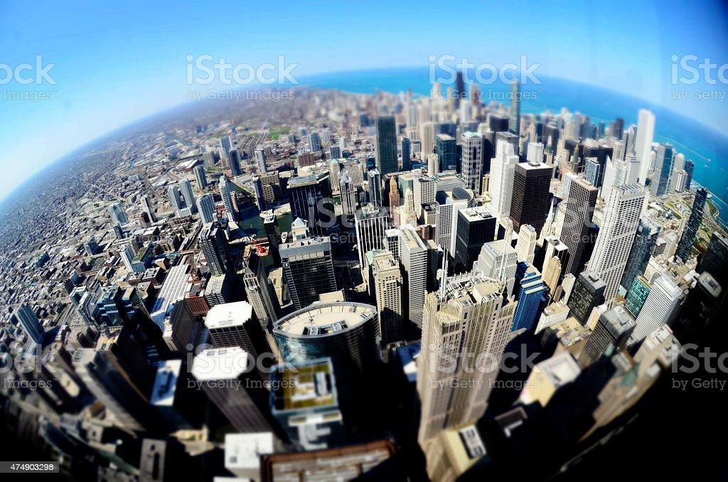 Chicago Downtown Buildings Fisheye Round World stock photo