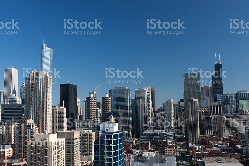 Chicago Downtown Cityscape Sears and Trump Tower stock photo