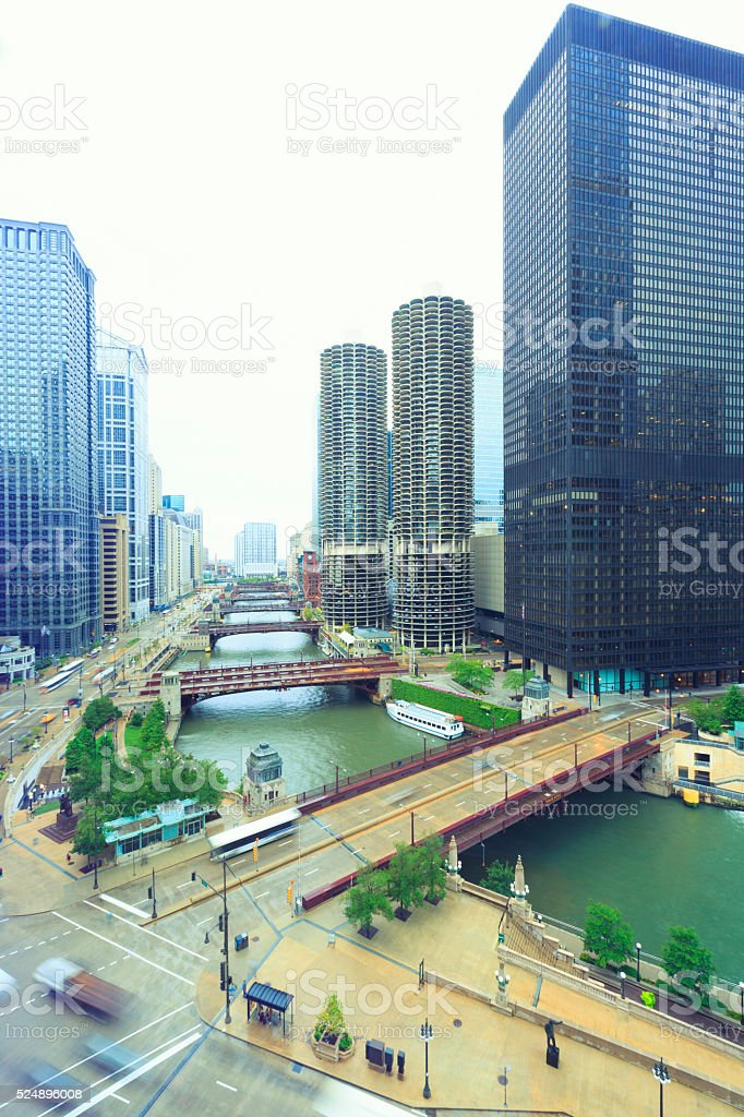 Chicago downtown from above stock photo