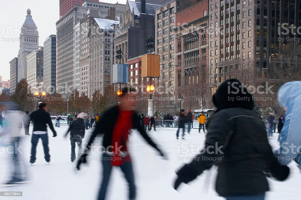 Chicago Downtown Ice Skating royalty-free stock photo