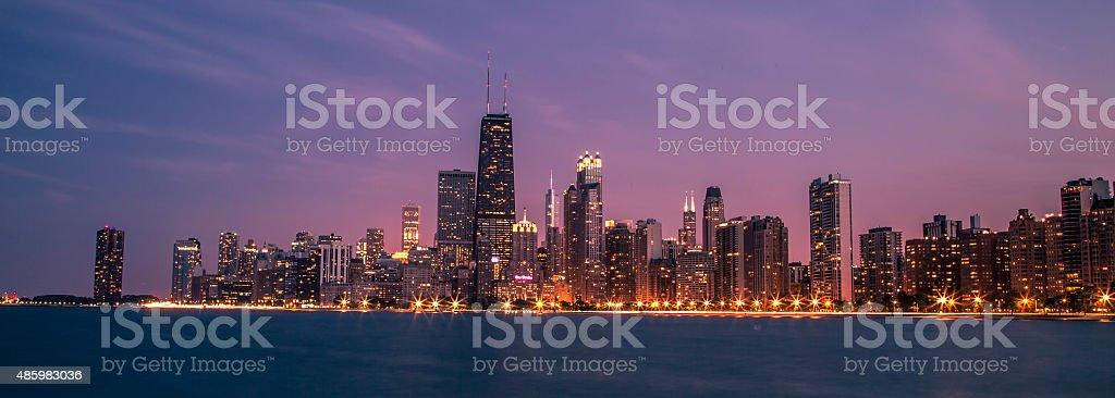 Chicago Downtown Night Panorama & Lake Michigan stock photo