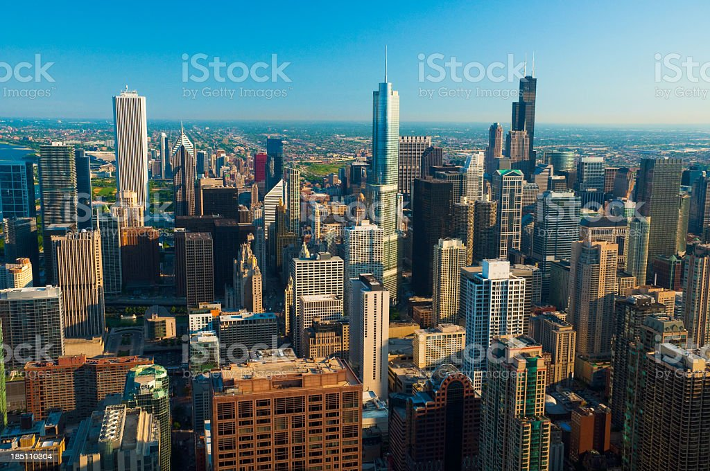 Chicago downtown skyline aerial stock photo