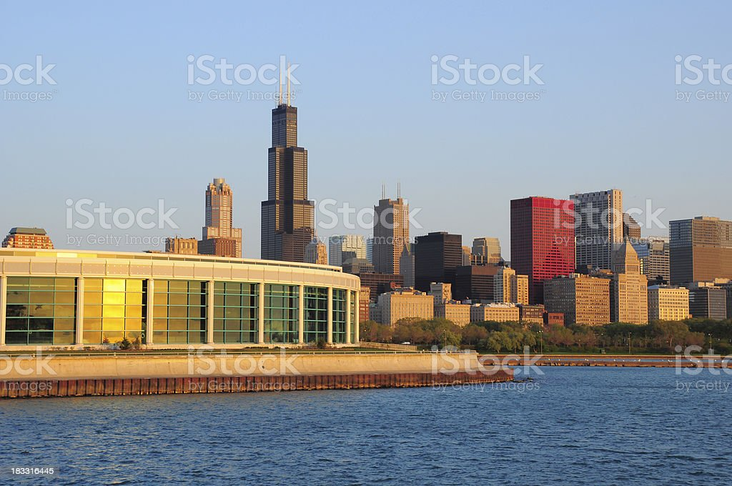 Chicago downtown skyline at sunrise stock photo
