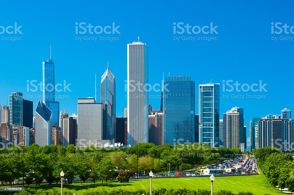 Chicago downtown skyline, Grant Park, and traffic jam stock photo