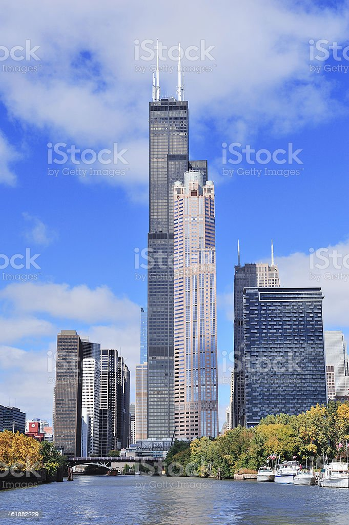 Chicago downtown skyline stock photo