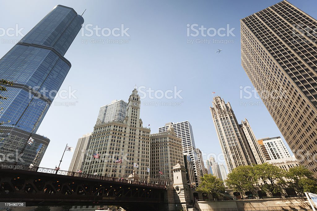 Chicago Downtown the Loop from River Front Hz stock photo
