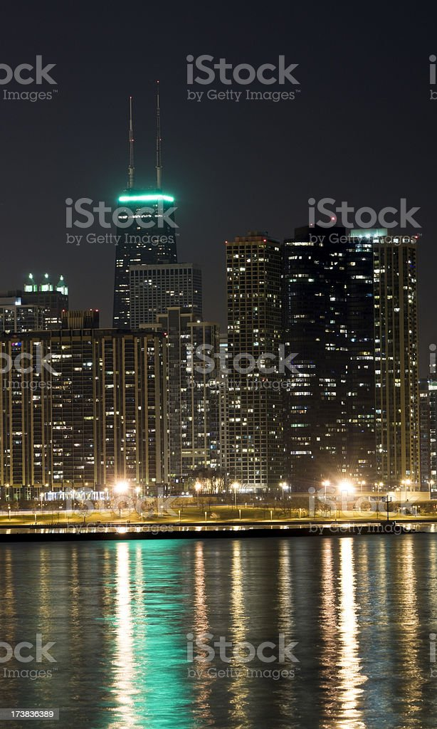 Chicago - East Loop at Night (XXXL) stock photo