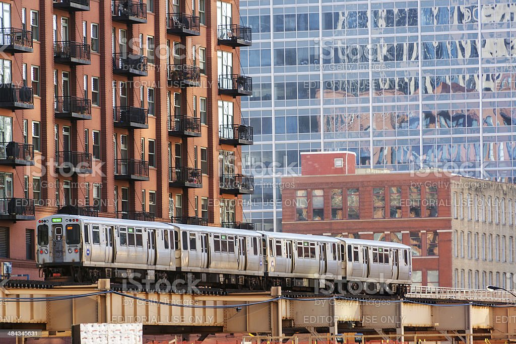 Chicago Elevated Train stock photo