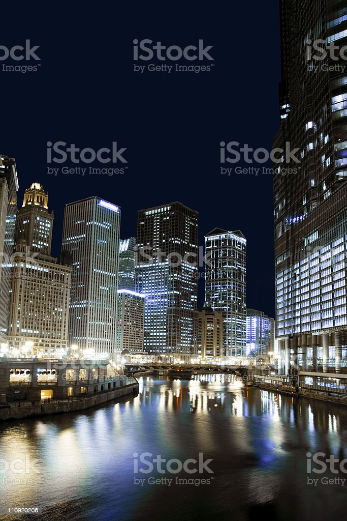 Chicago financial district by night royalty-free stock photo