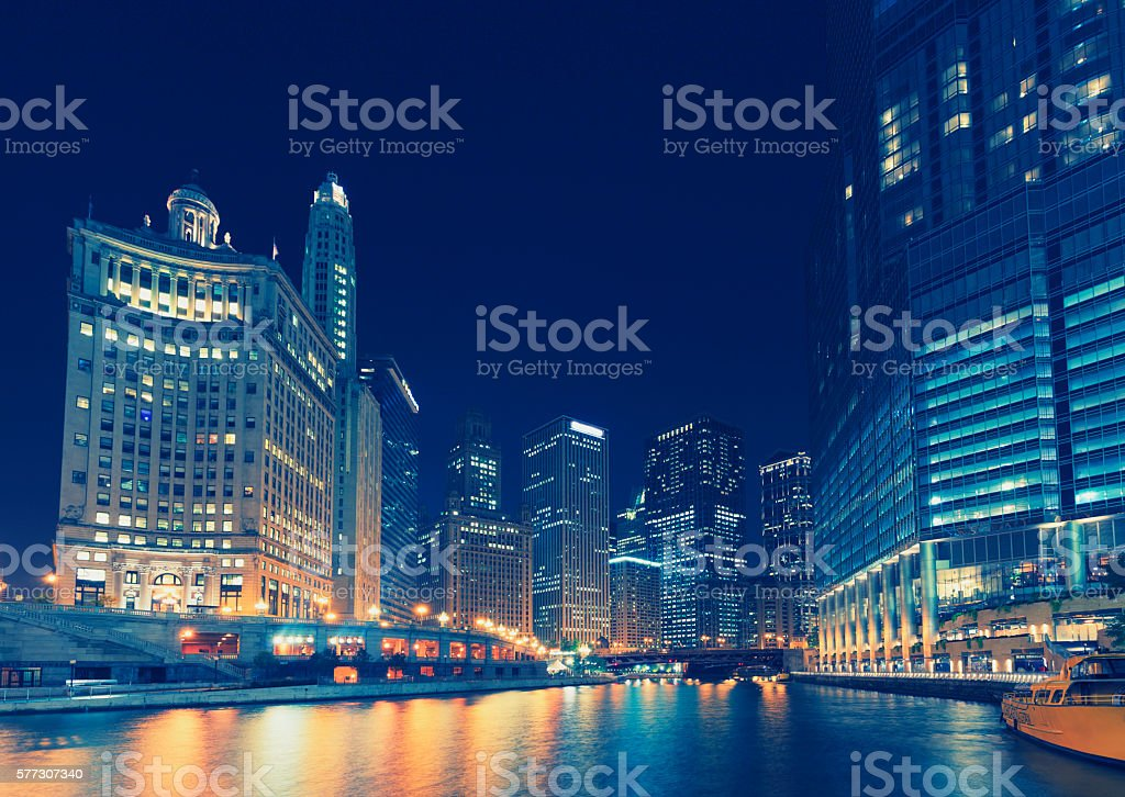 Chicago financial district by night stock photo
