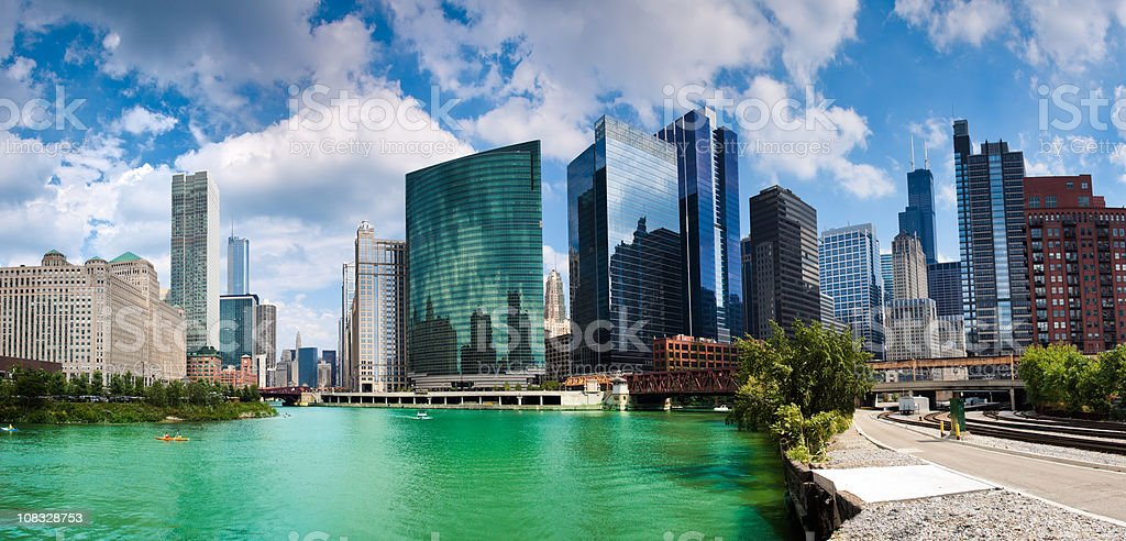 Chicago financial district stock photo