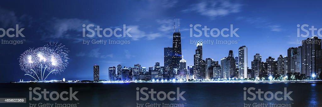 Chicago fireworks stock photo